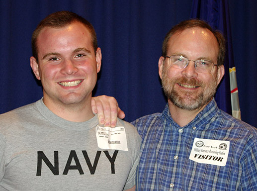 Seaman Recruit Harry Petersen with his proud father, minutes after being sworn in.  (That's Harry on the left.)