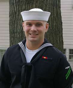 Harry on his way to the Nimitz from my back yard in New Jersey.  He subsequently got his third green stripe.