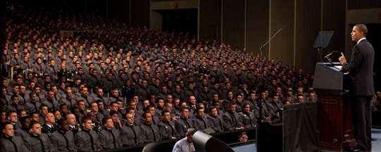 White House photo of the announcement at West Point